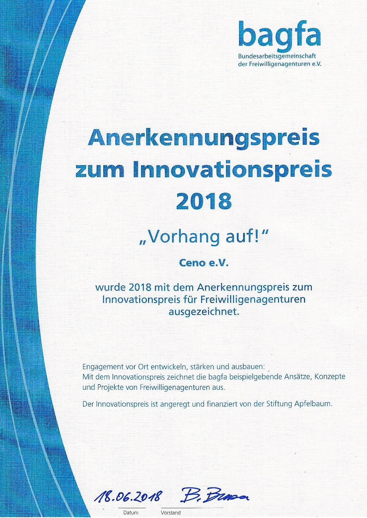 Urkunde Annerkennungspreis zum Innovationspreis 2018