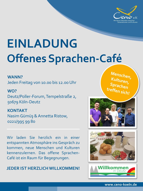 Aushang Sprachen Café