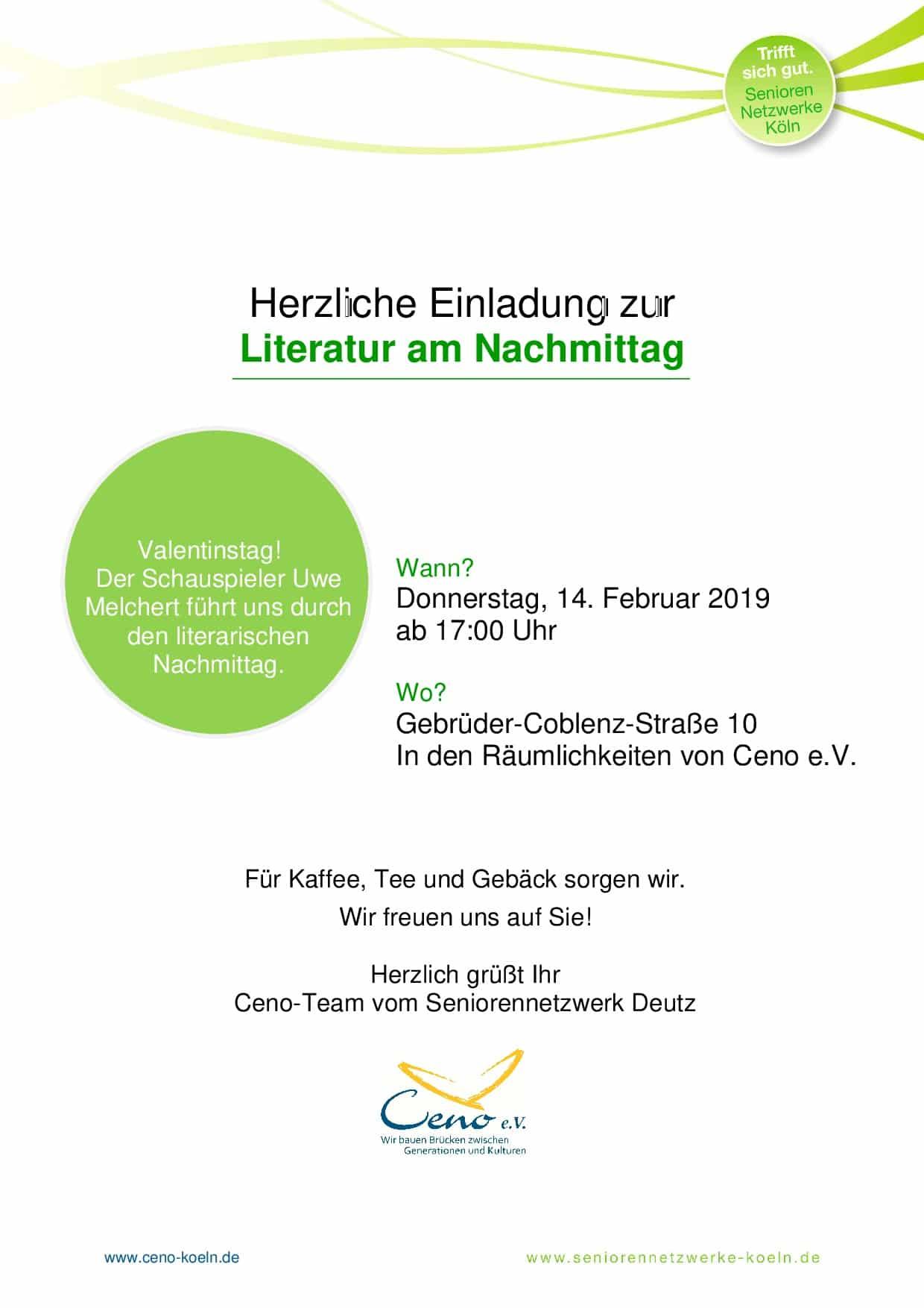 Einladung Zur Literatur Am Nachmittag Am Valentinstag Ceno Die