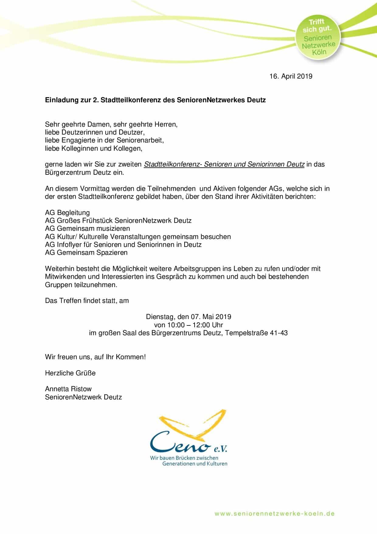 Einladung 2. Stadtteilkonferenz SeniorenNetzwerkDeutz