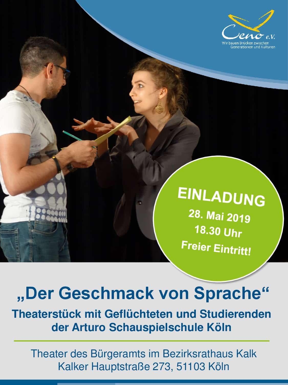 Einladung Theaterprojekt Der Geschmack von Sprache Mai19
